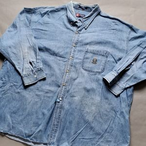 Vintage | RL Chaps Jean Shirt Distressed Oversized